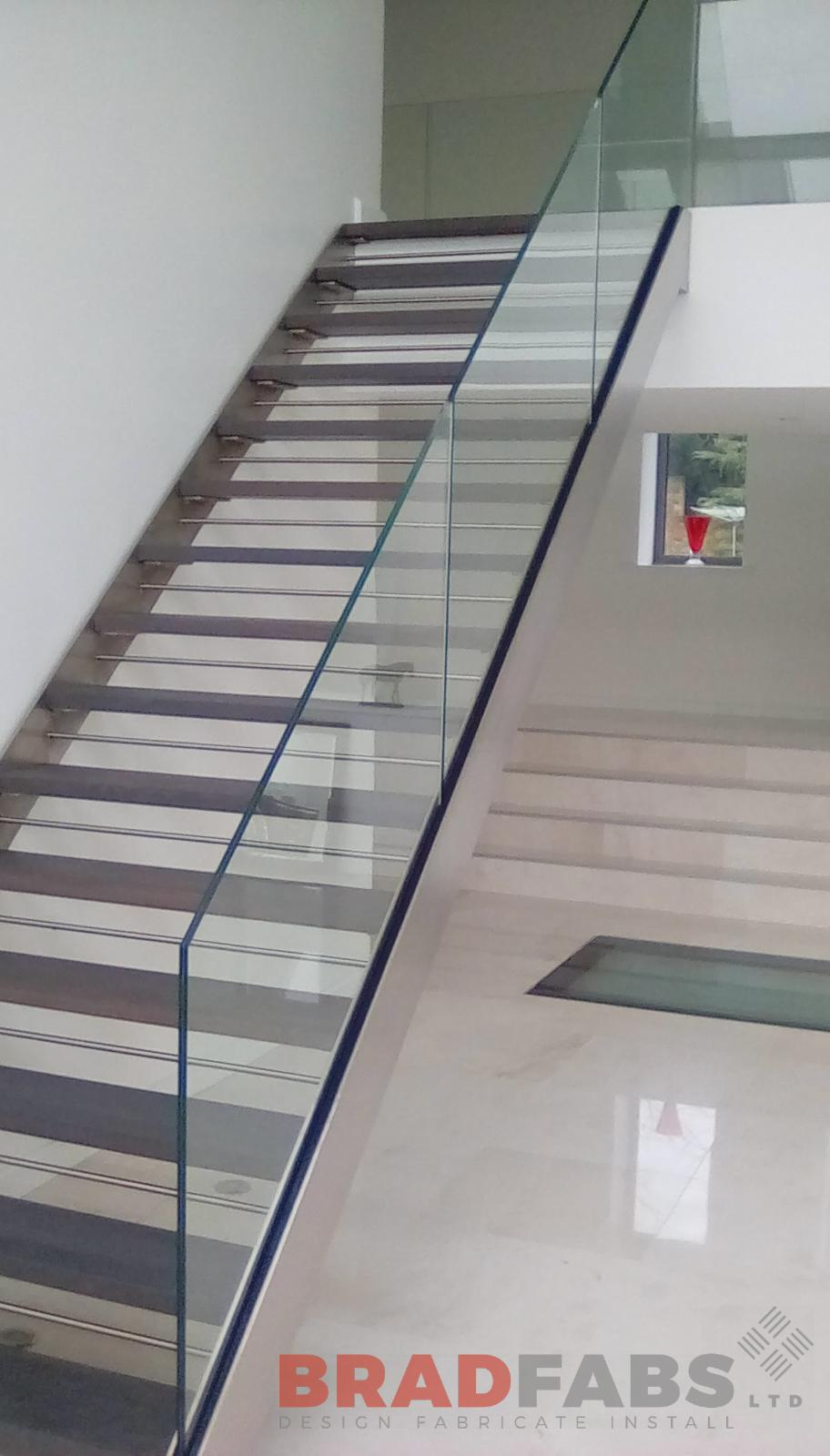 infinity glass balustrade, open treads, straight staircase, Bradfabs UK