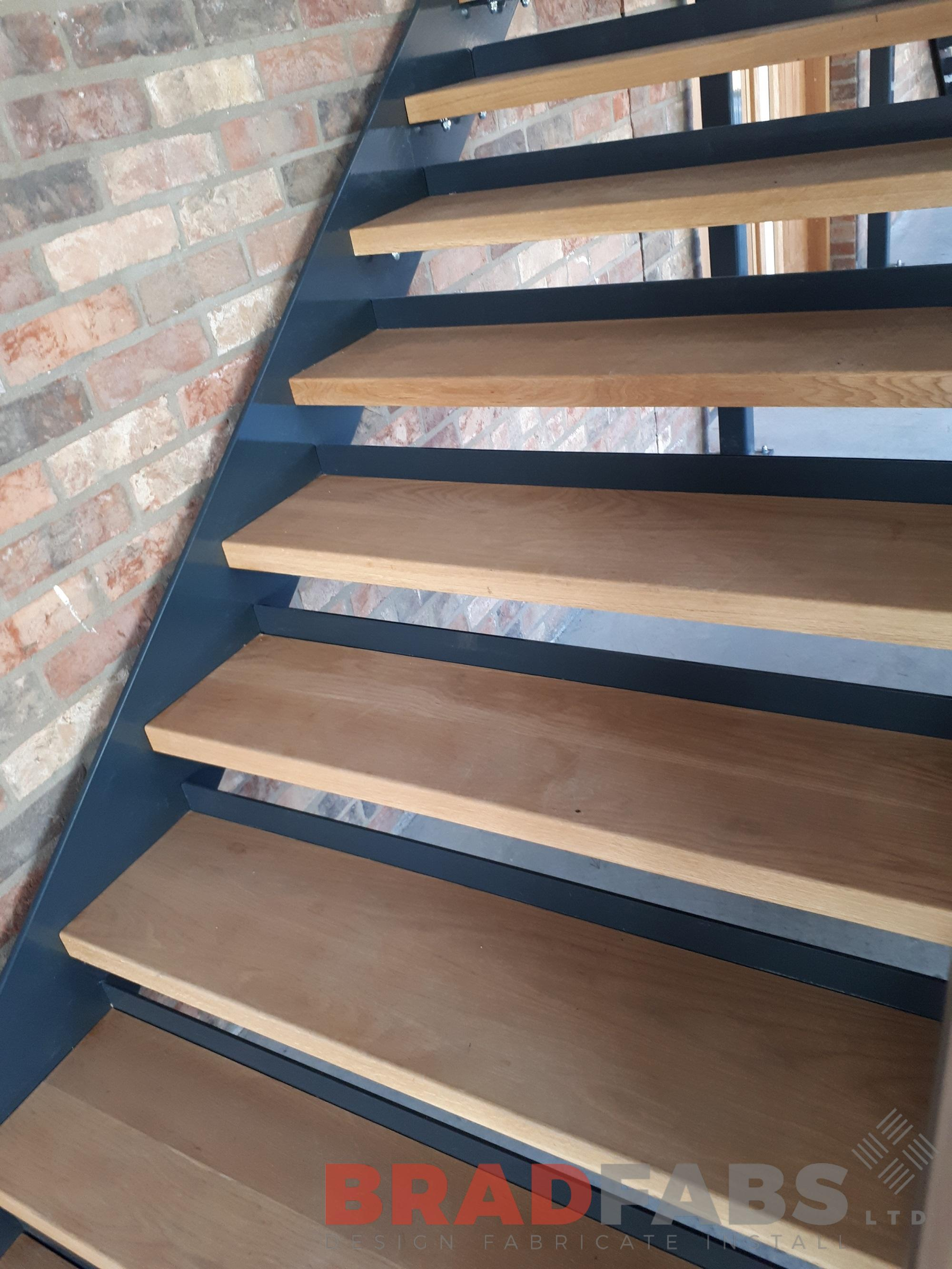 Open oak treads, Bradfabs, Mild steel and Powder coated