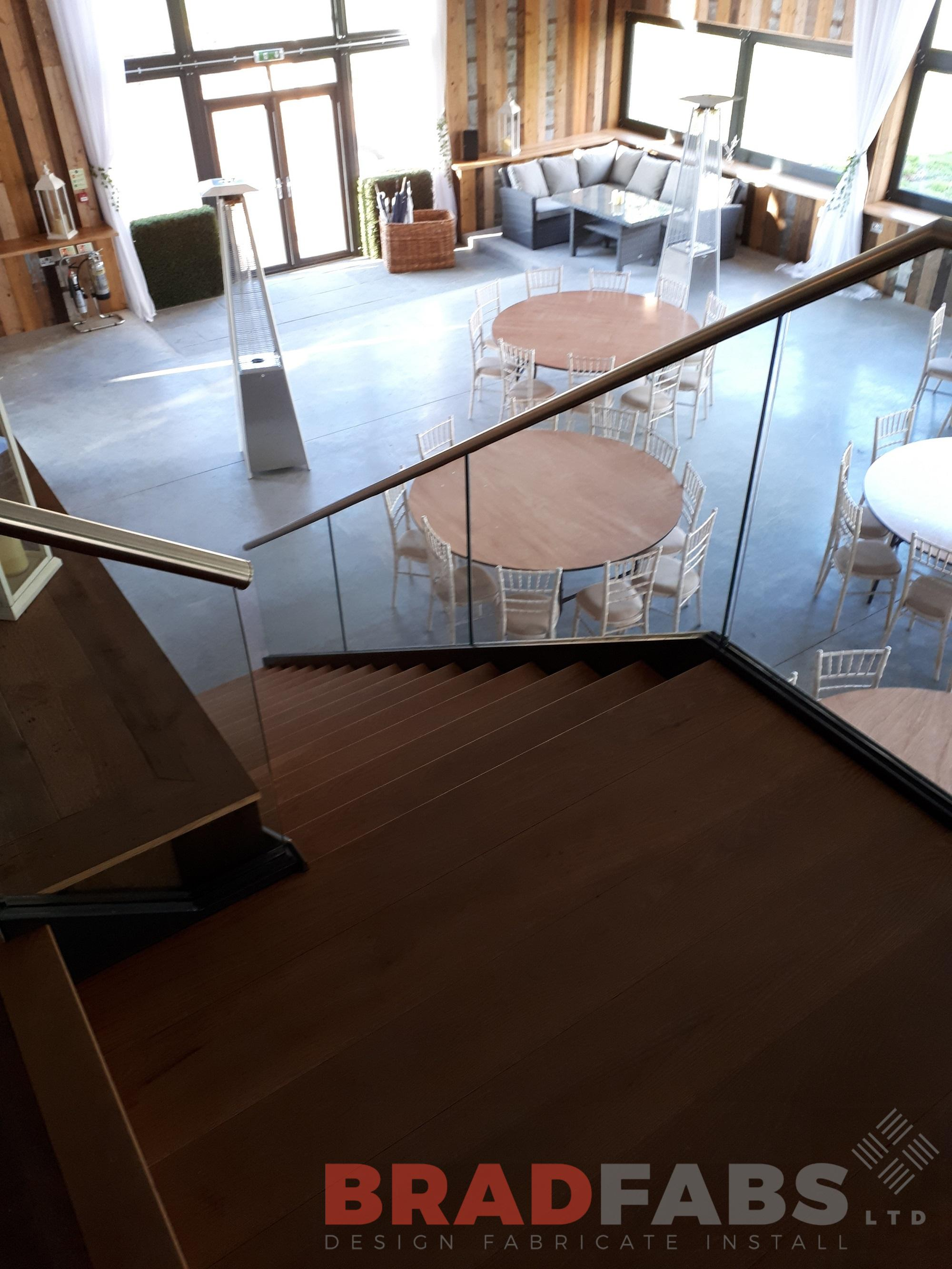 Stainless steel handrail, open oak treads, glass infill panels, Bradfabs