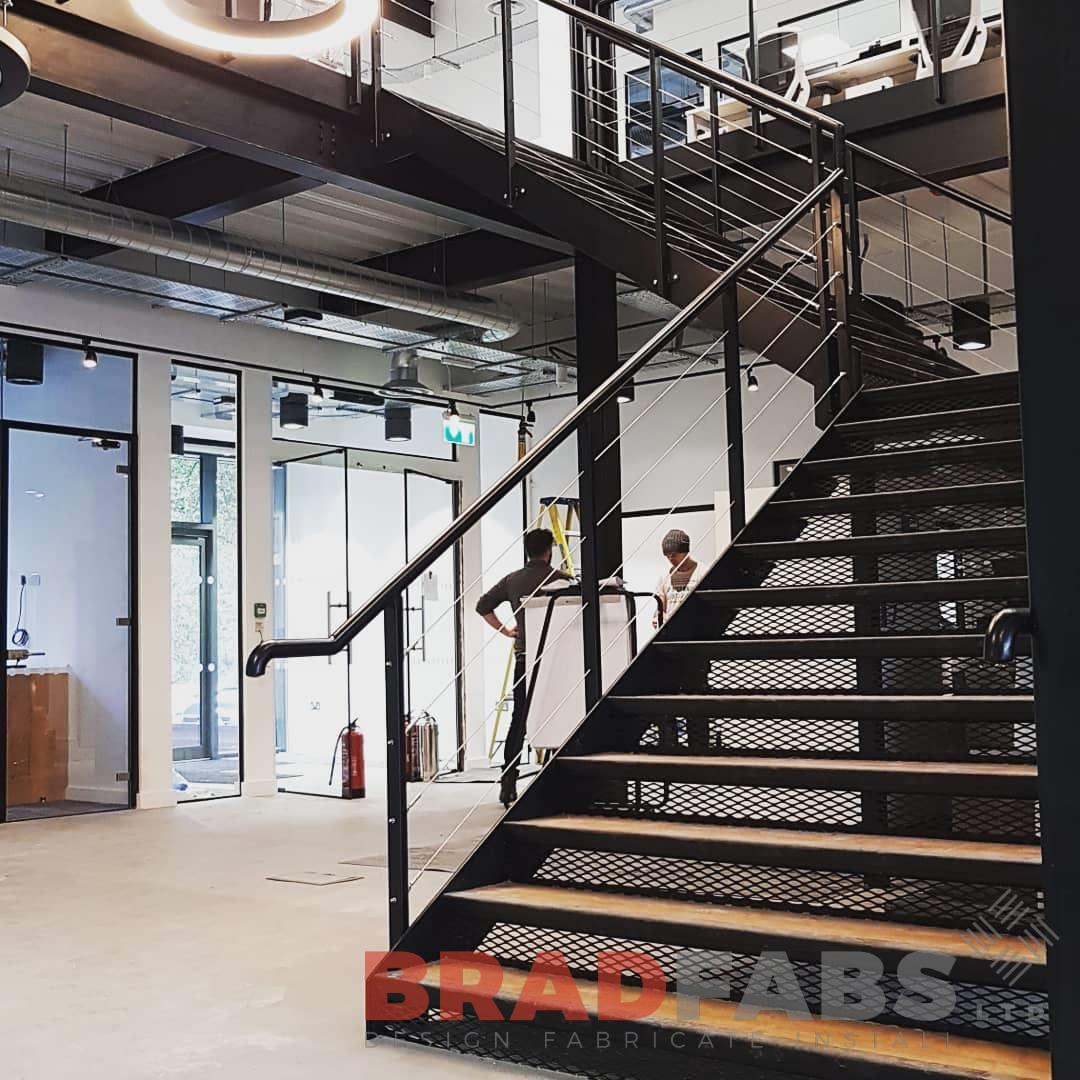 Mild steel, powder coated, straight staircase, By Bradfabs, Commercial property staircase
