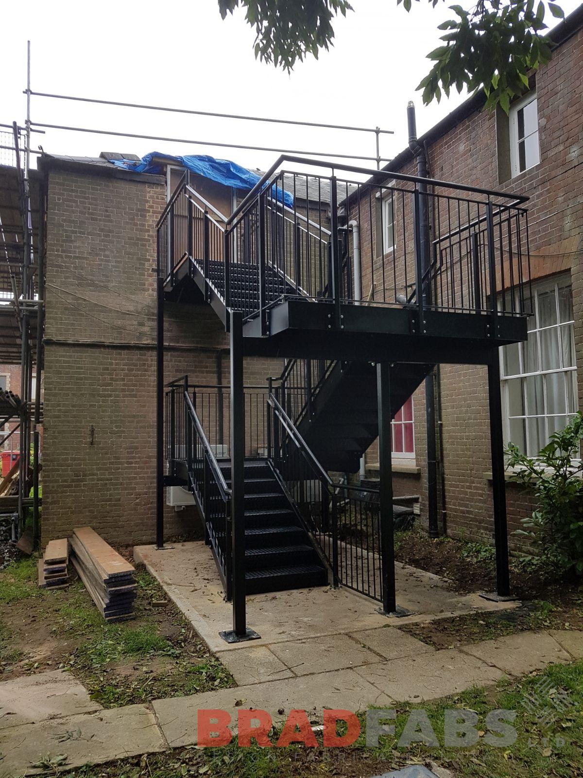 External straight staircase / fire escape for a commercial property by Bradfabs