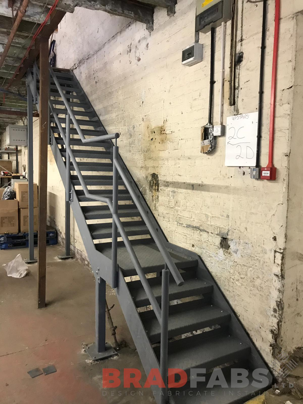 Straight staircase mild steel and powder coated by Bradfabs