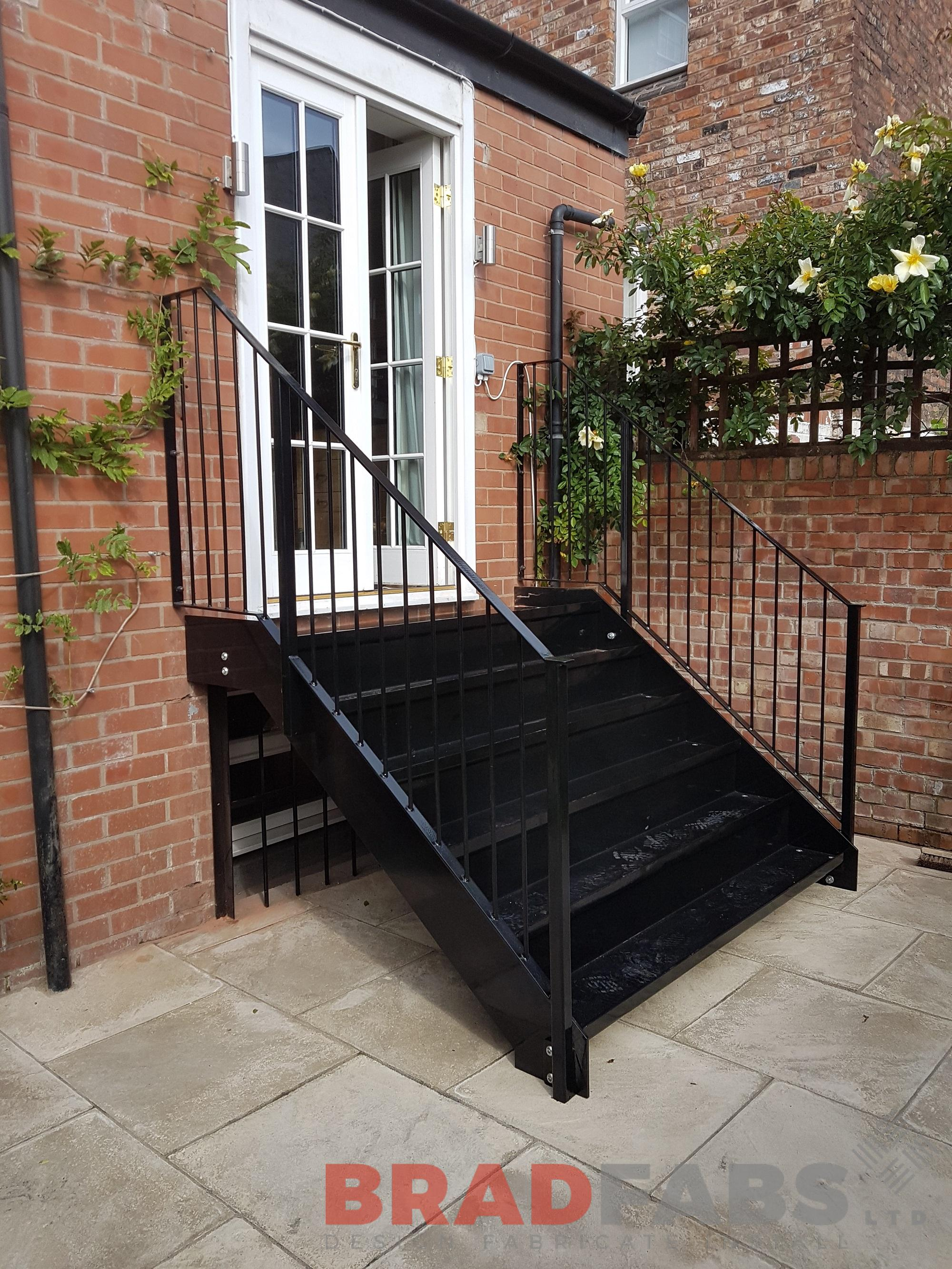 Mild steel galvanised and powder coated small staircase with durbar treads by Bradfabs