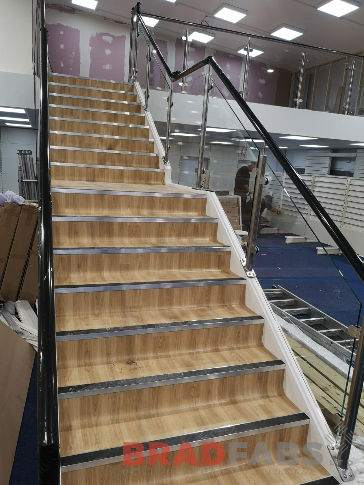 Large commercial property staircase and balustrade by Bradfabs