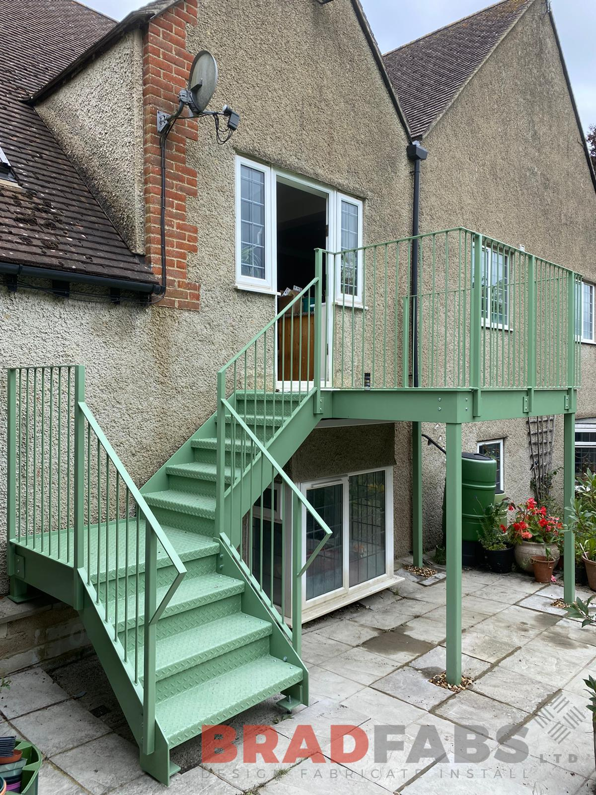 Bradfabs, straight staircase with balcony landing, steelwork, mild steel staircase, galvanised staircase, domestic property staircase, external staircase