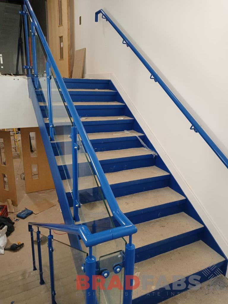 Bradfabs, bespoke straight staircase, school staircase, steel and glass balustrade