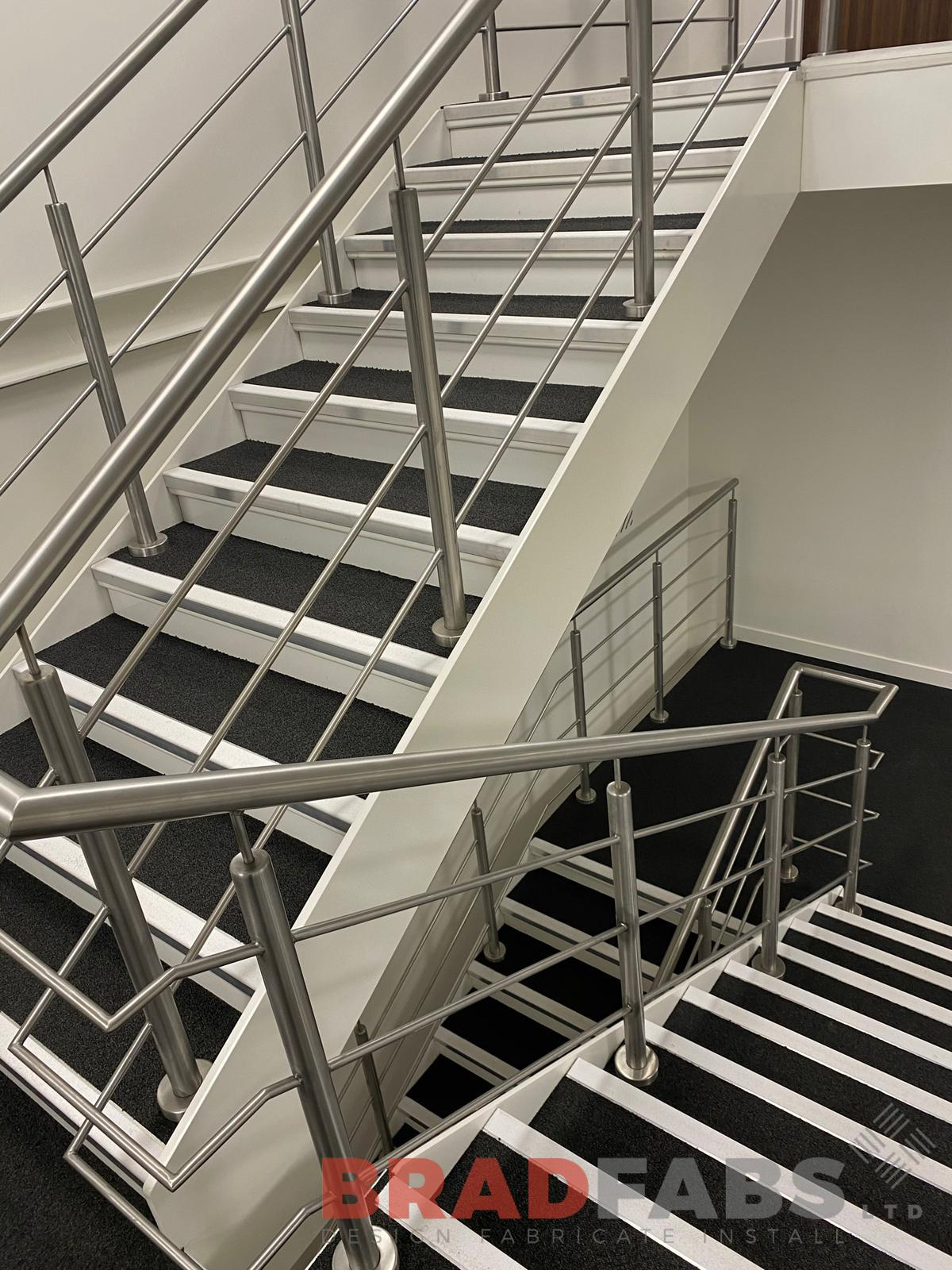Bradfabs, straight staircase, steel staircase, top and mid rail balustrade, bespoke staircase, escape staircase, cat ladder