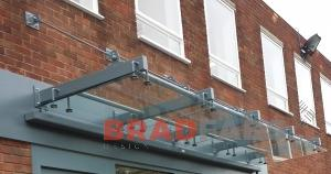 Bradfabs fabricated this large commercial canopy in mild steel and glass