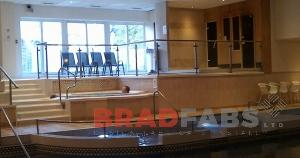 Glass and steel balustrading fabricated in bradford, Steel and glass balustrade installed in swimming pools nationwide