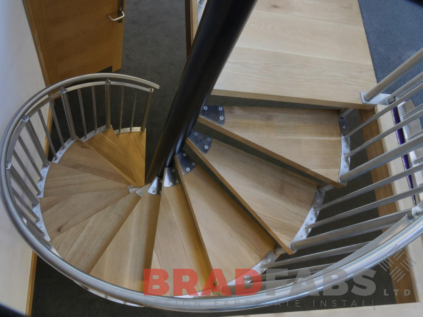 Bradfabs designed and installed this unique oak stainless spiral staircase, installed in Yorkshire