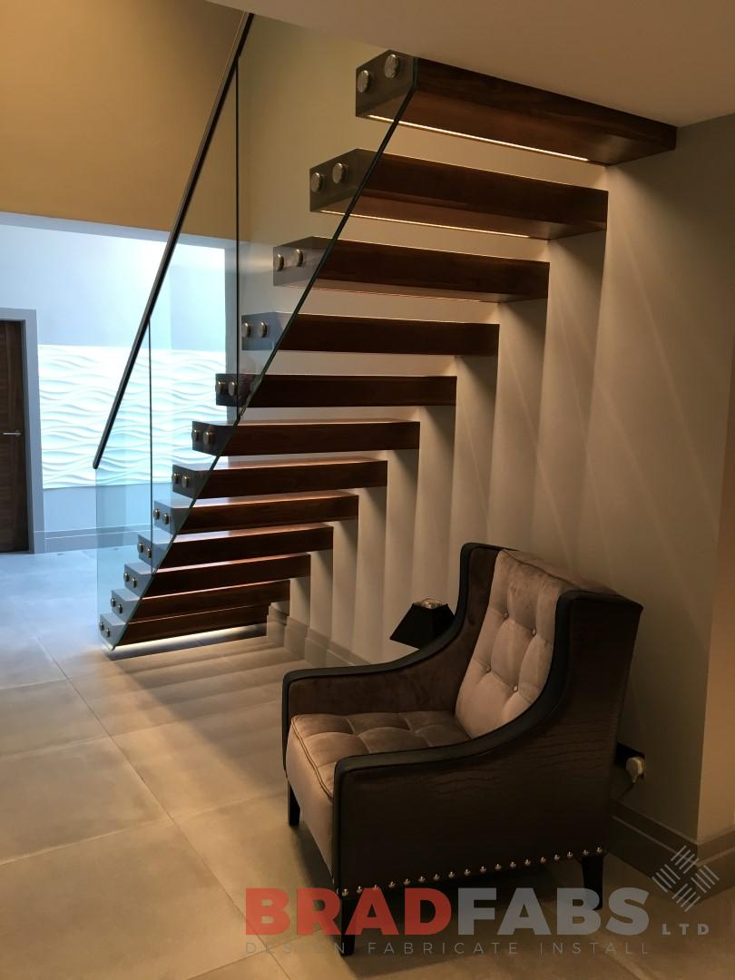 open treads floating effect infinity glass balustrade stainless steel handrail