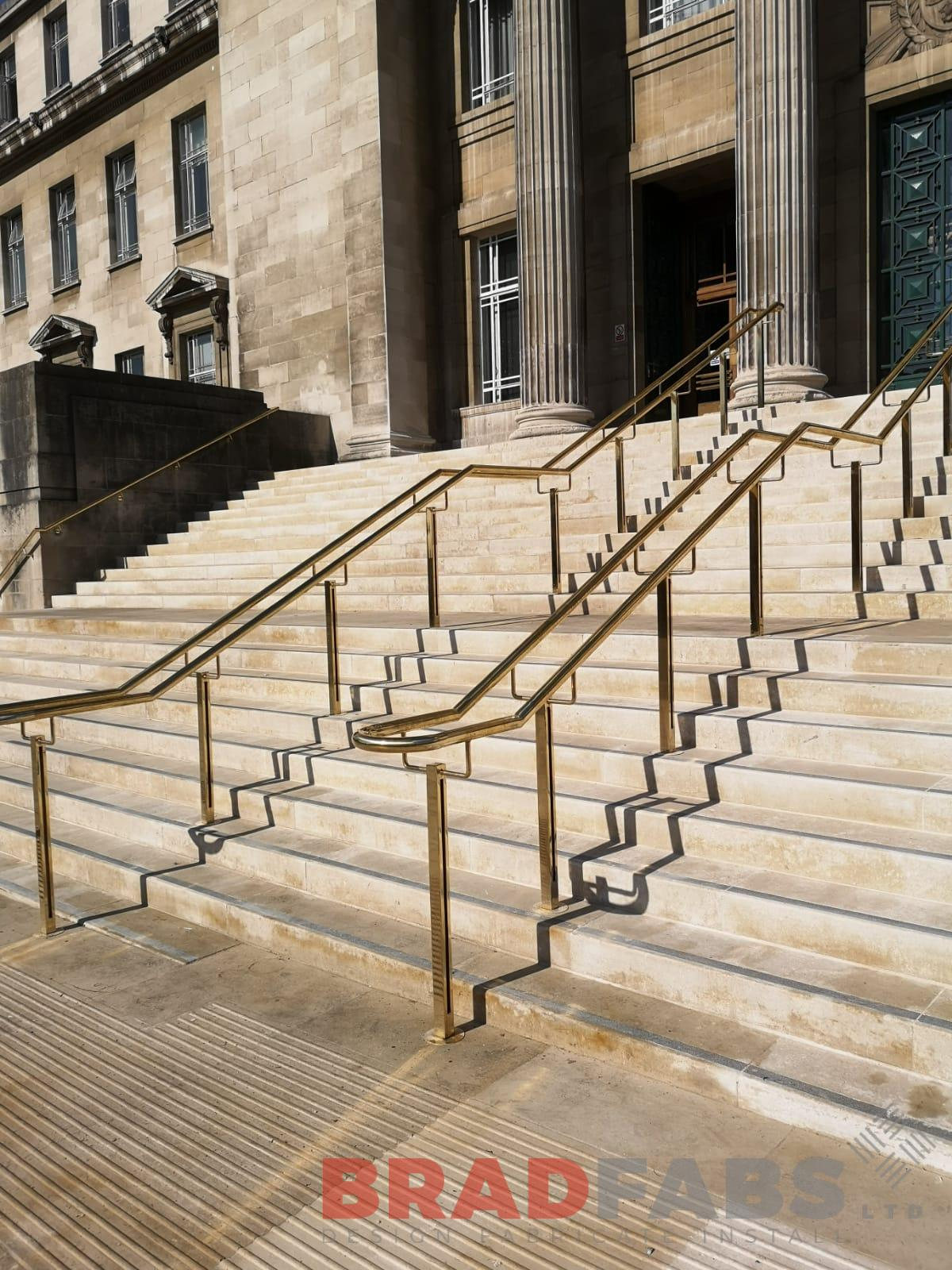 Brass railings for a university, bespoke by Bradfabs