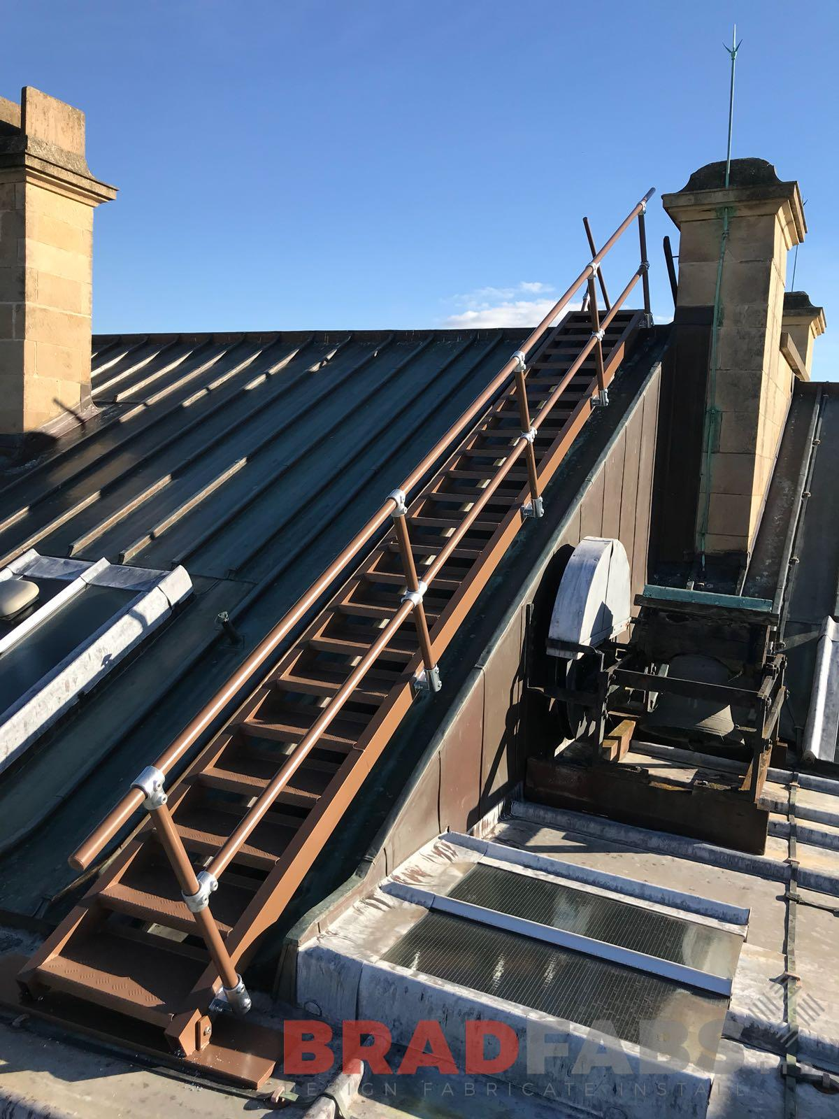 Rooftop ladder mild steel galvanised powder coated brown